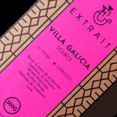 Paquet de café en grains 300g gros plan VILLA GALICIA EXTRAIT