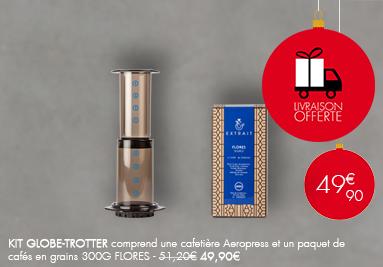 Kit Globe-Trotter : Cafetière Aeropress et un paquet de café en grains 300G FLORES